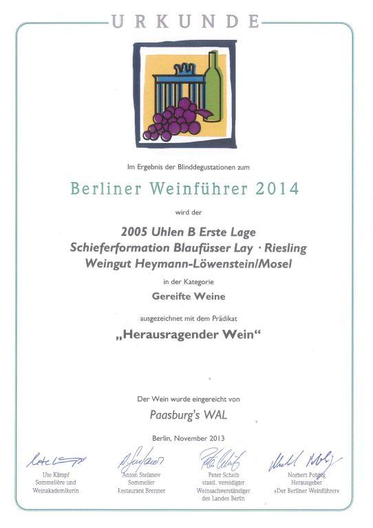 Heymann Löwenstein Weinführer 2014 - eingereicht von der Weinhandlung Paasburg
